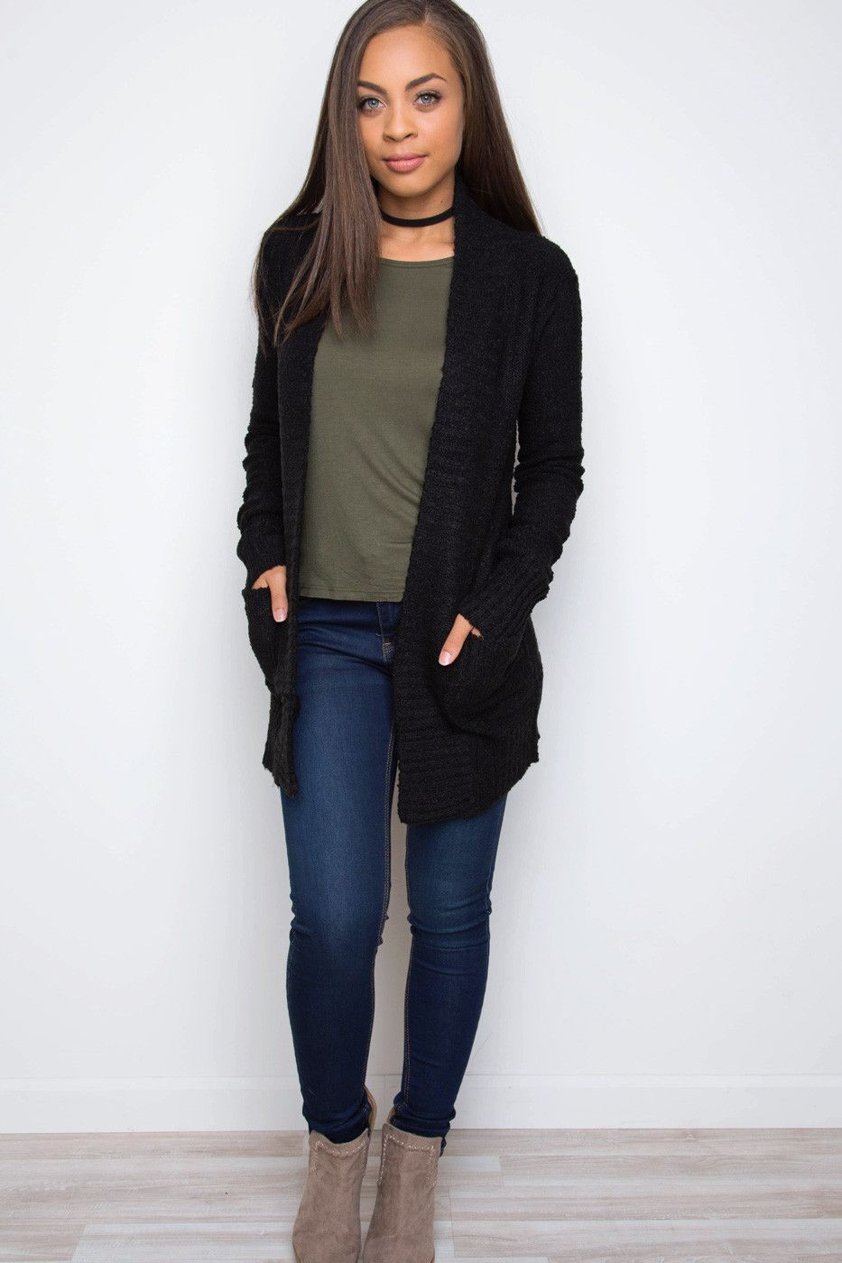 How To Style Long Black Cardigan