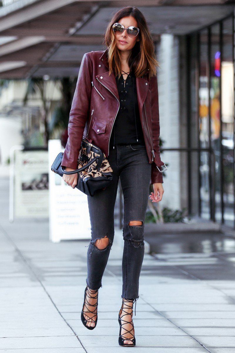 How To Style Maroon Leather Jacket