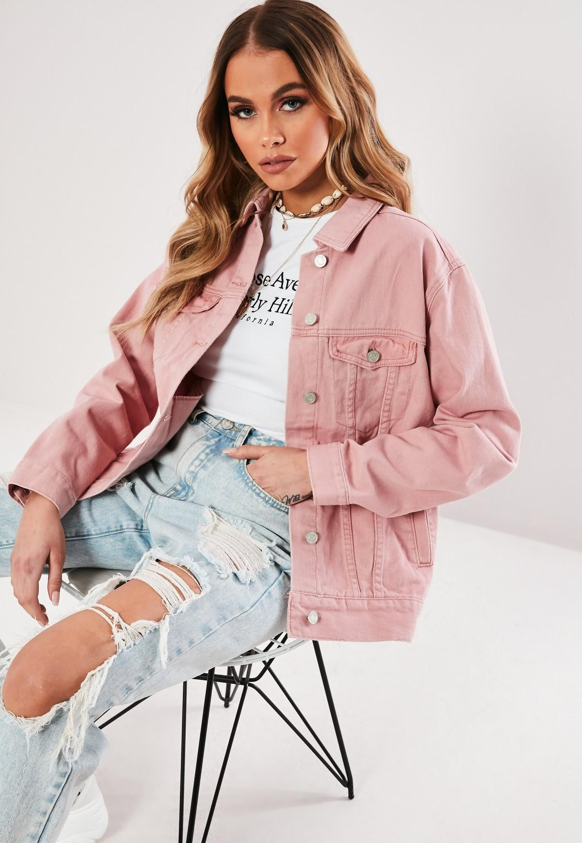 How To Style Pink Denim Jacket