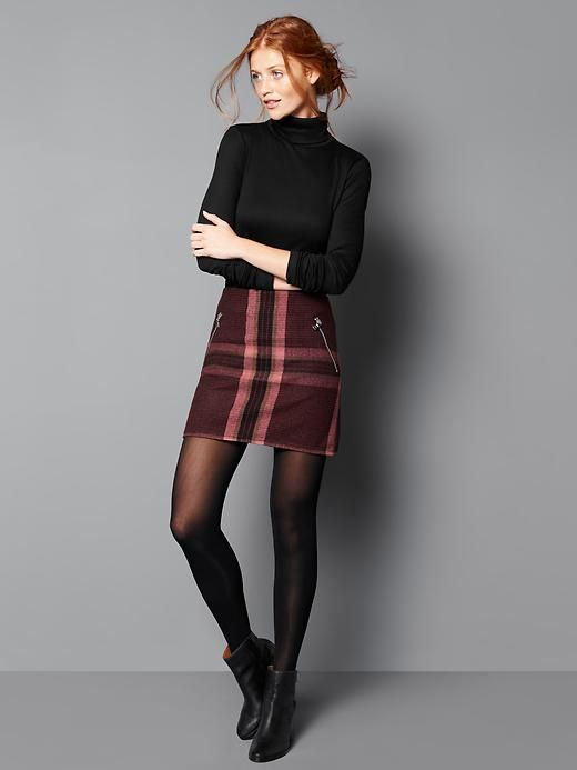 How To Style Plaid Wool Skirt