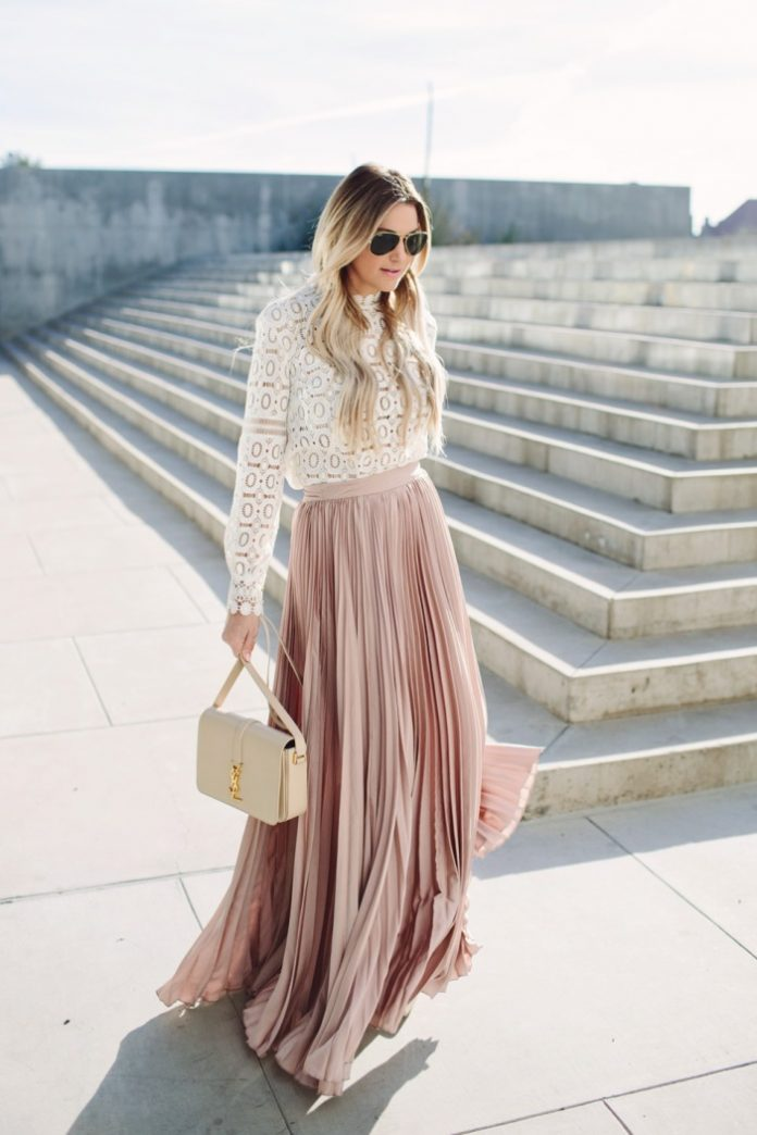 How To Style Pleated Maxi Skirt