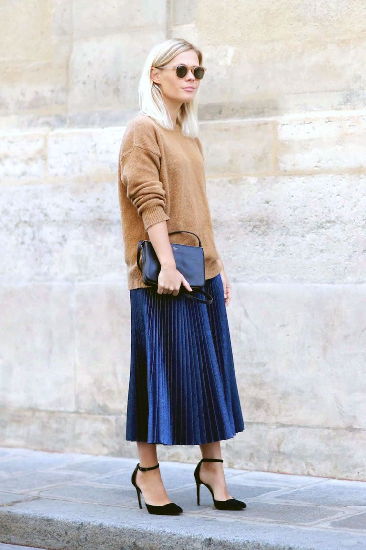 How To Style Pleated Midi Skirt