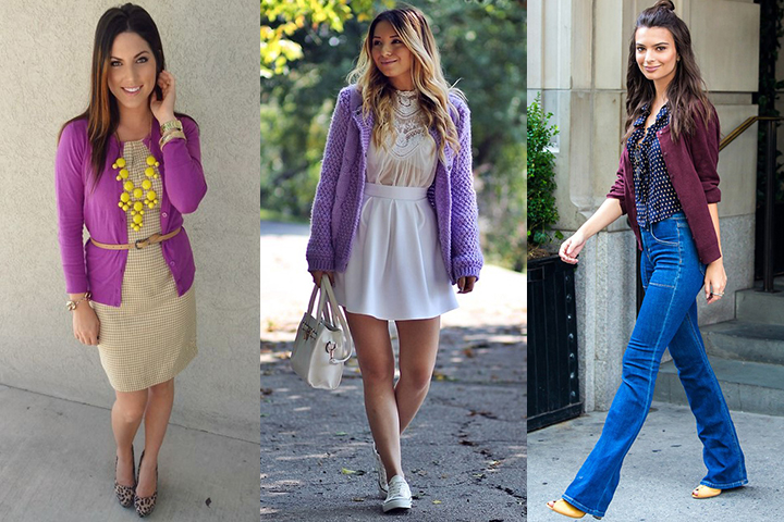 How To Style Purple Cardigan