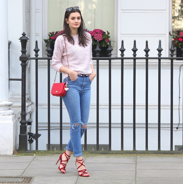 How To Style Red Lace Up Heels