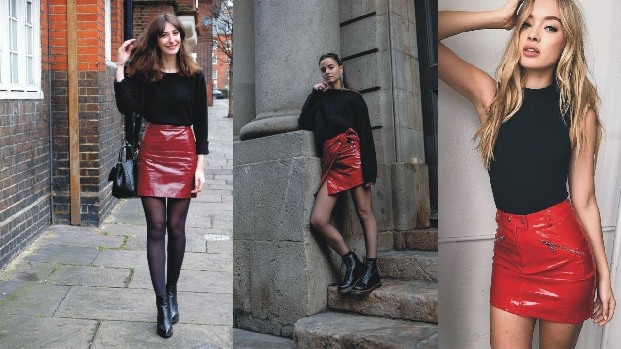 How To Style Red Leather Skirt