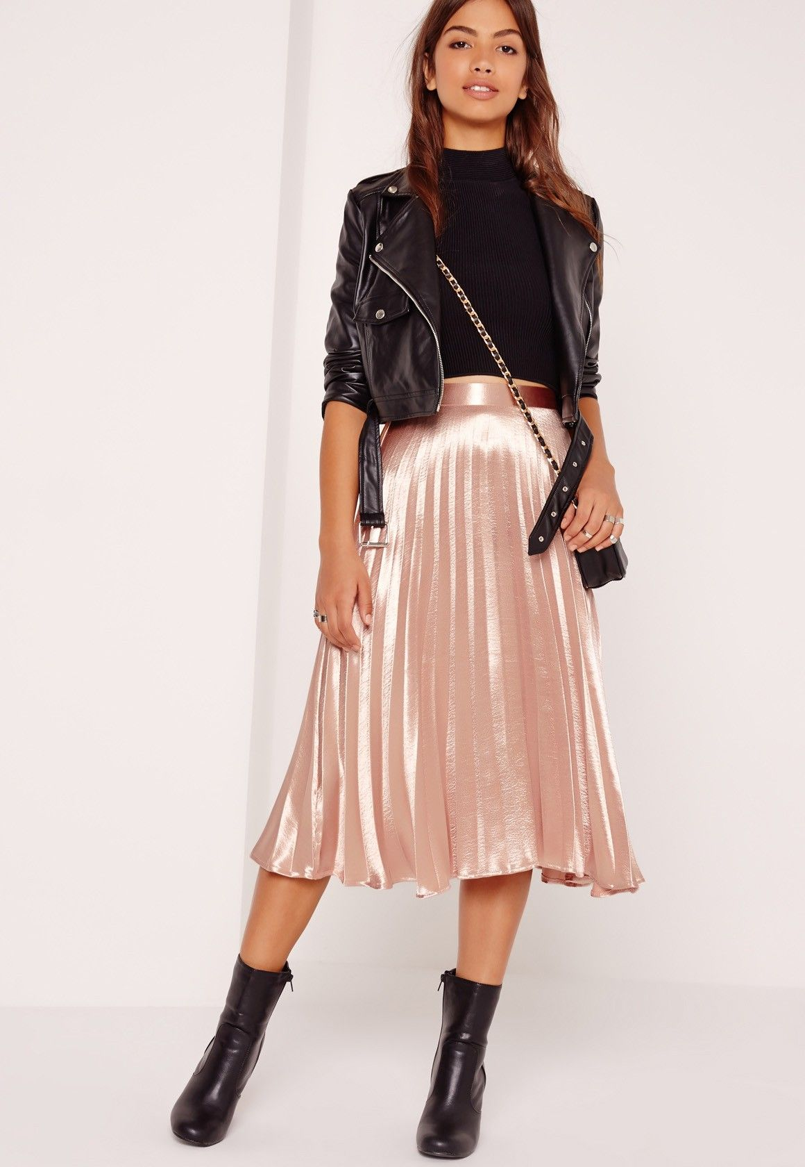 How To Style Rose Gold Skirt
