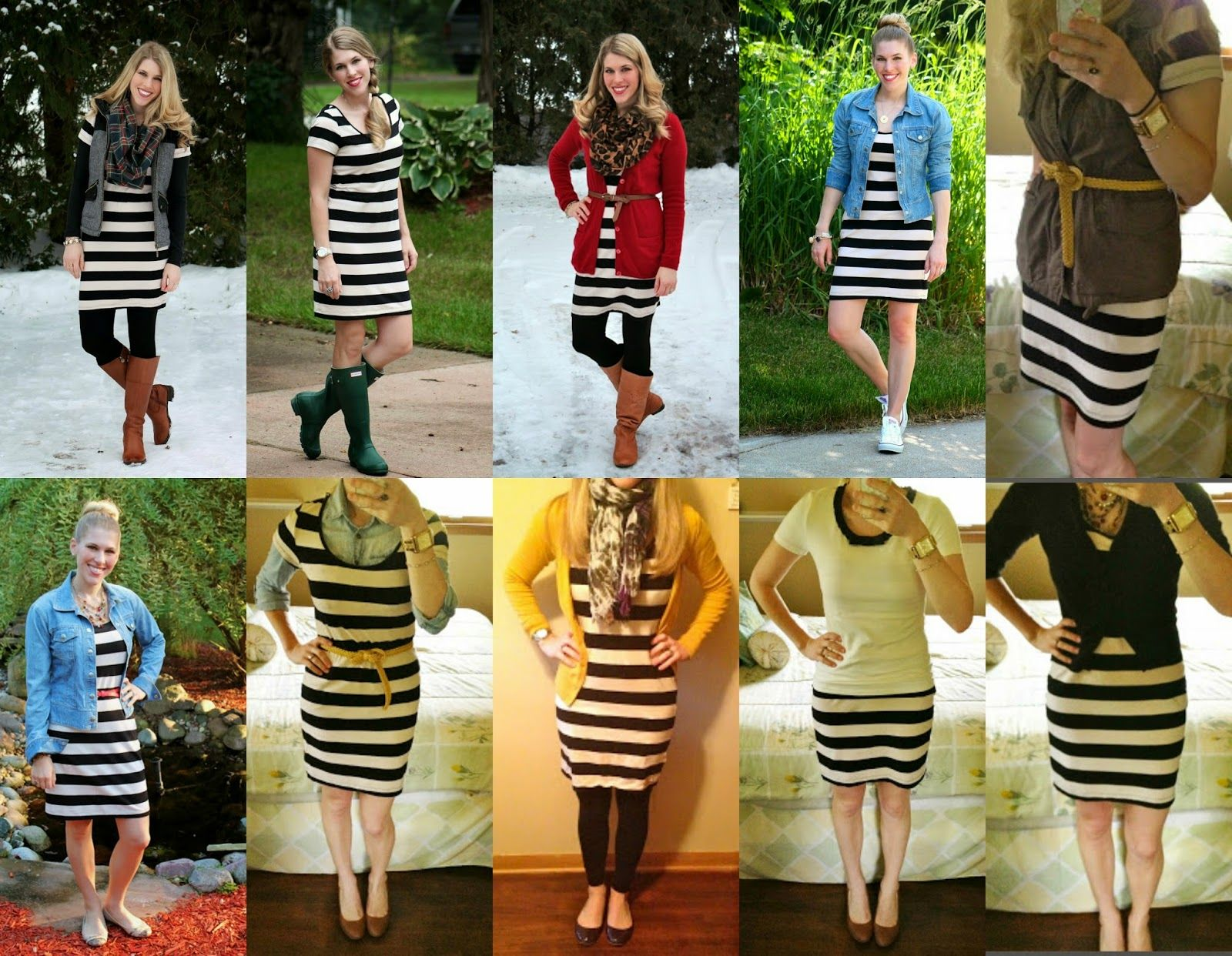 How To Wear Black And White Striped Dress