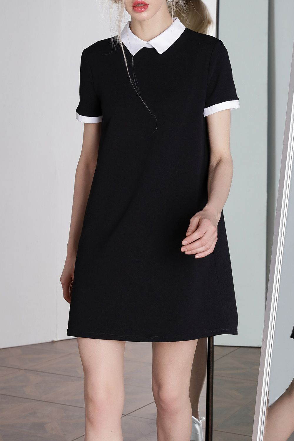 How To Wear Black Collared Dress