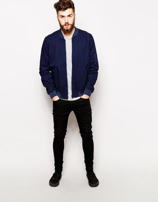 How To Wear Blue Bomber Jacket
