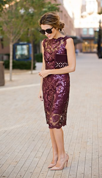How To Wear Burgundy Lace Dress