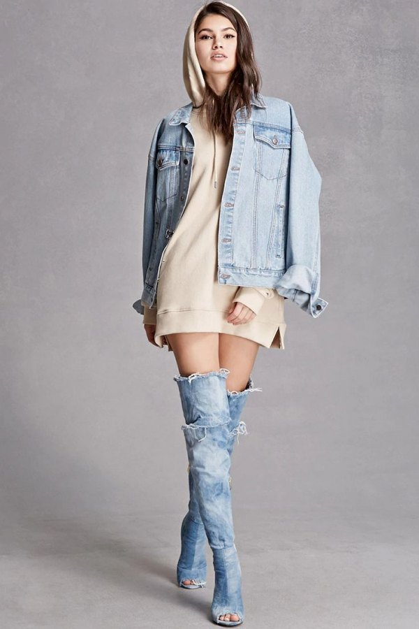 How To Wear Denim Thigh High Boots