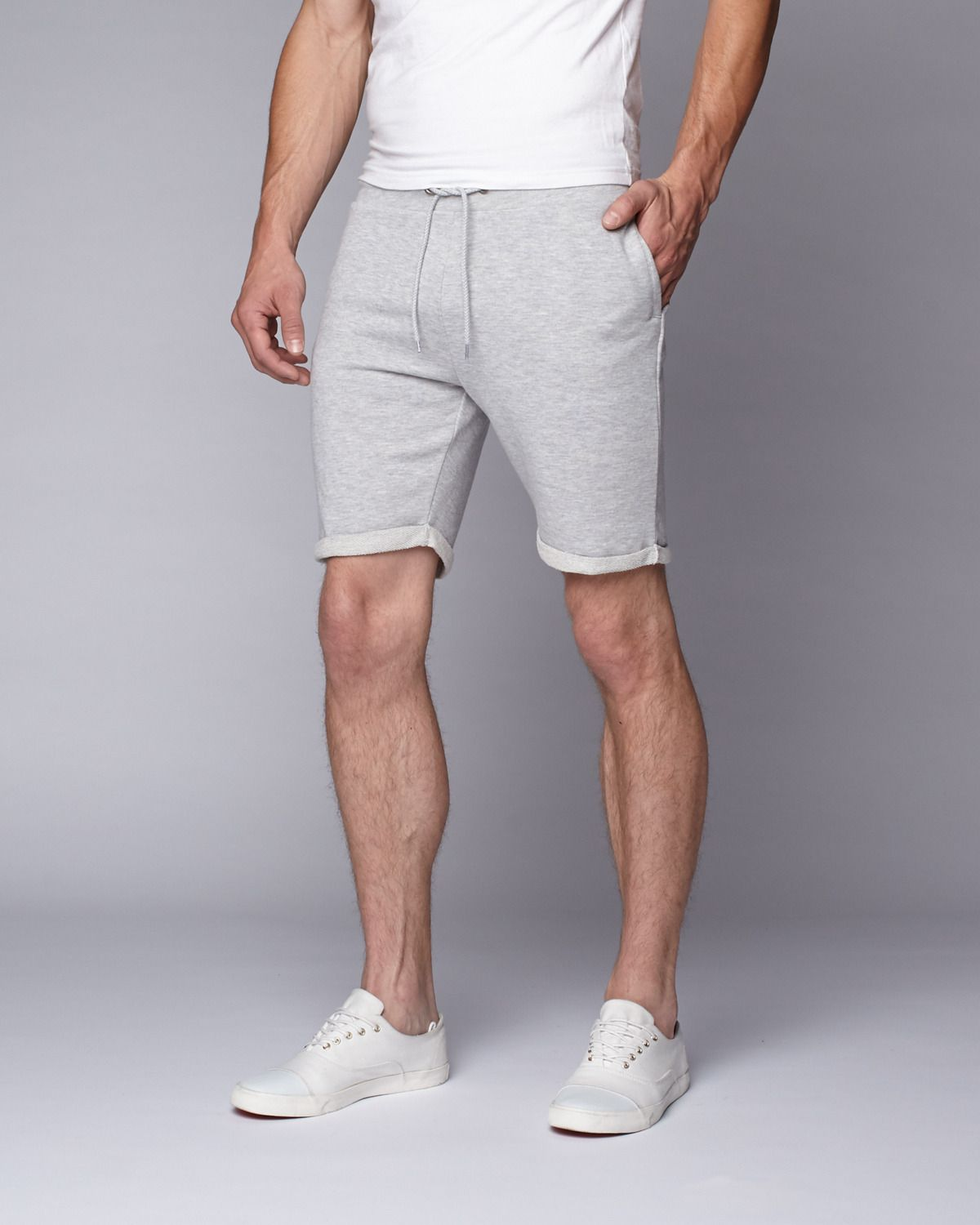 How To Wear Grey Sweat Shorts
