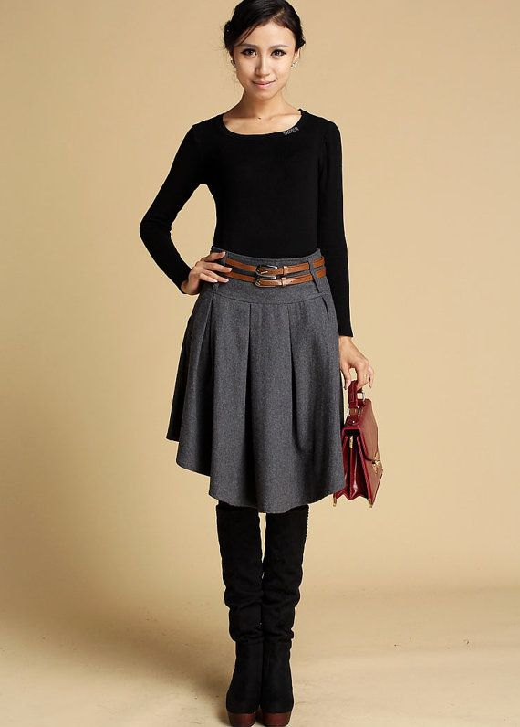 How To Wear Grey Wool Skirt