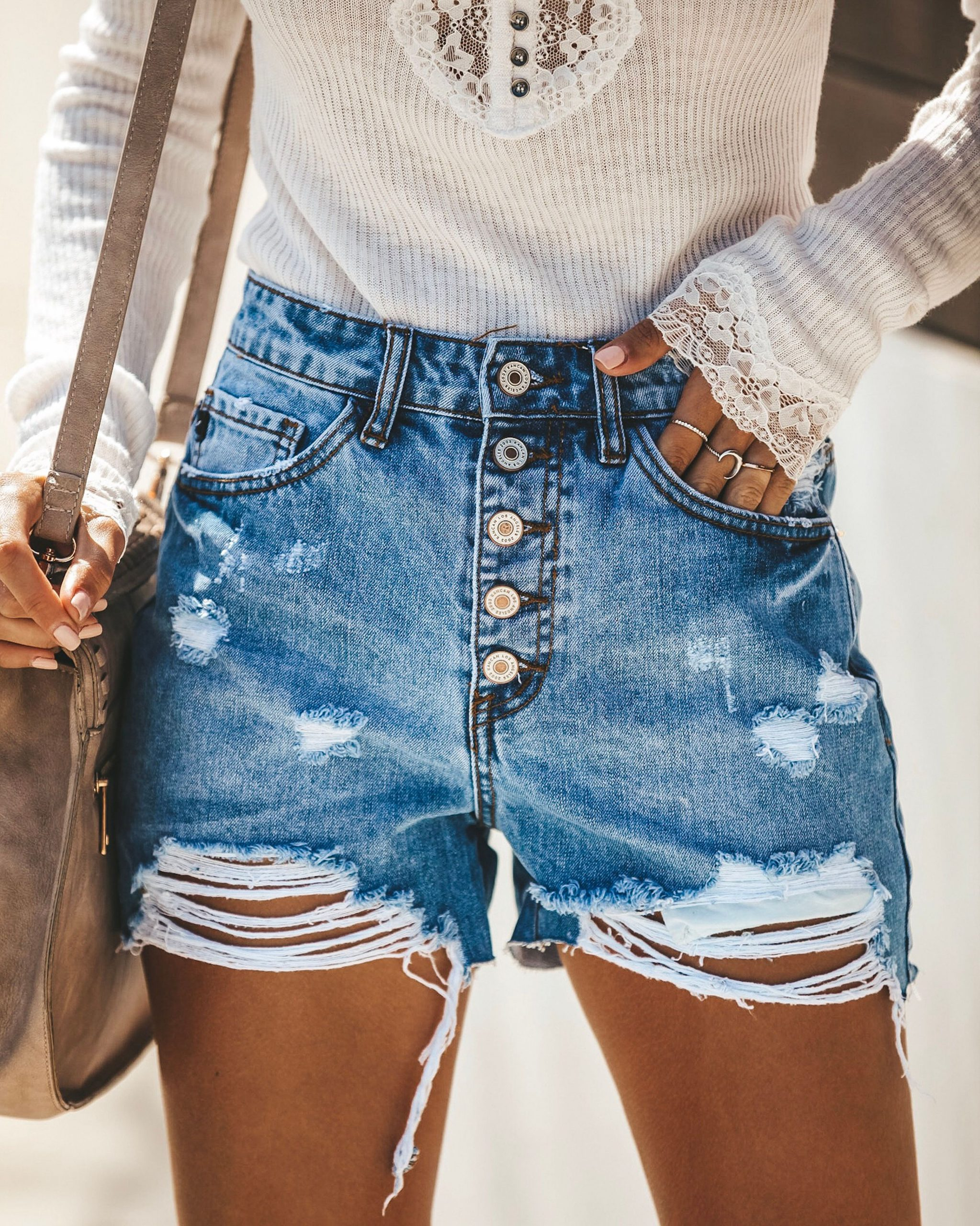 How To Wear High Waisted Distressed Shorts