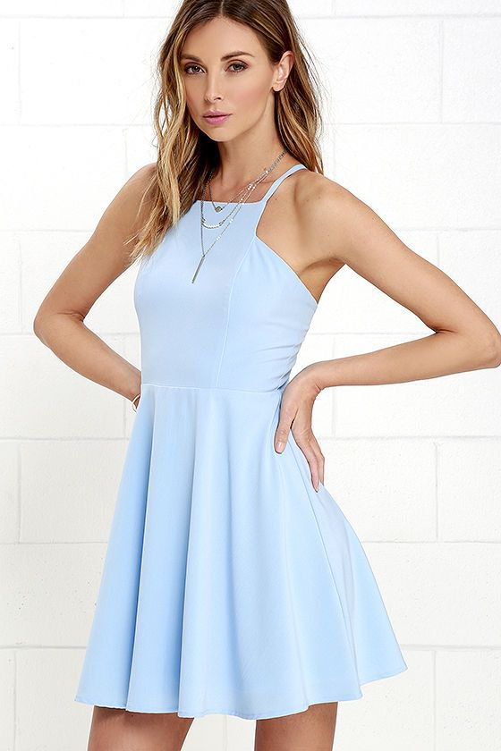 How To Wear Light Blue Short Dress