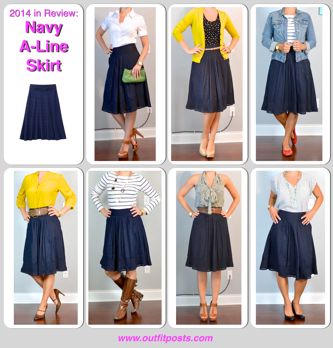 How To Wear Navy Skirt