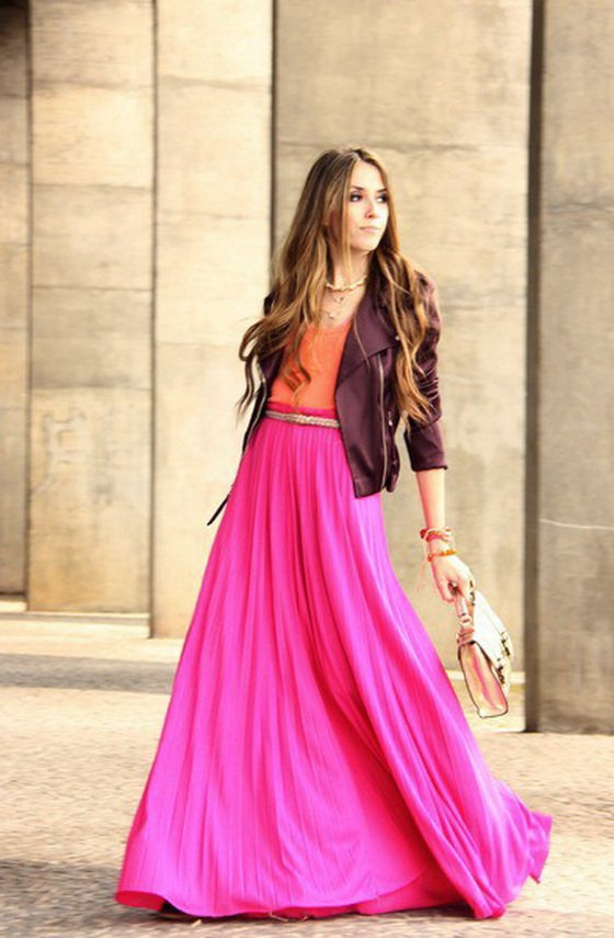 How To Wear Pink Maxi Skirt