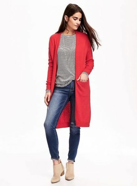 How To Wear Red Cardigan