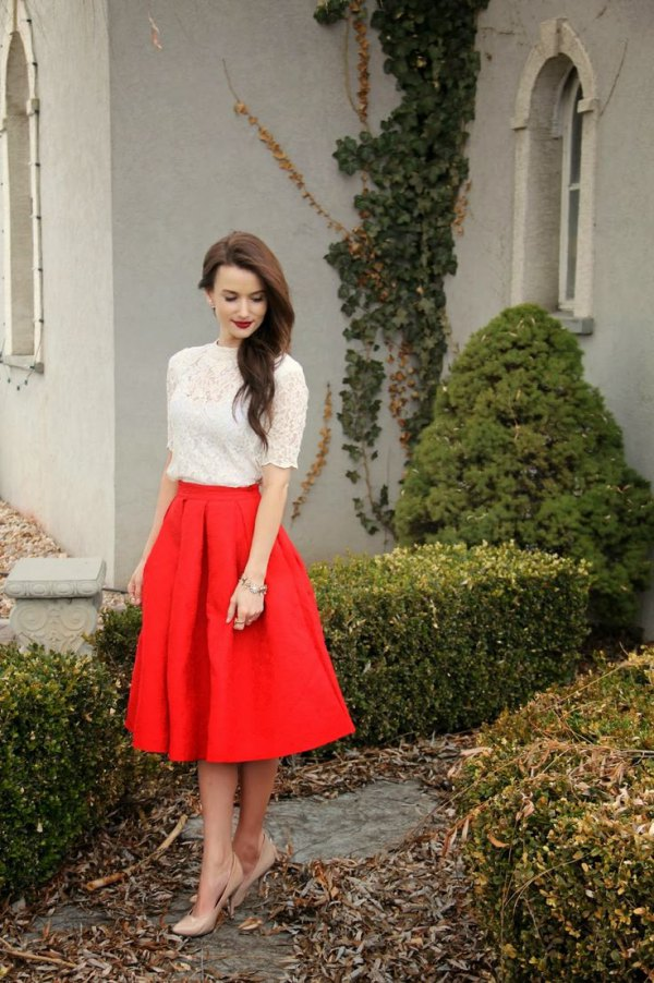 How To Wear Red Flare Skirt