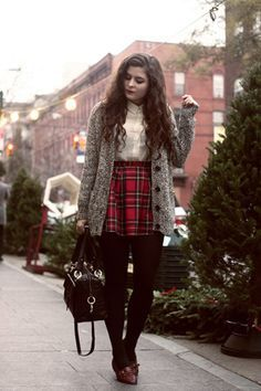 How To Wear Red Plaid Skirt