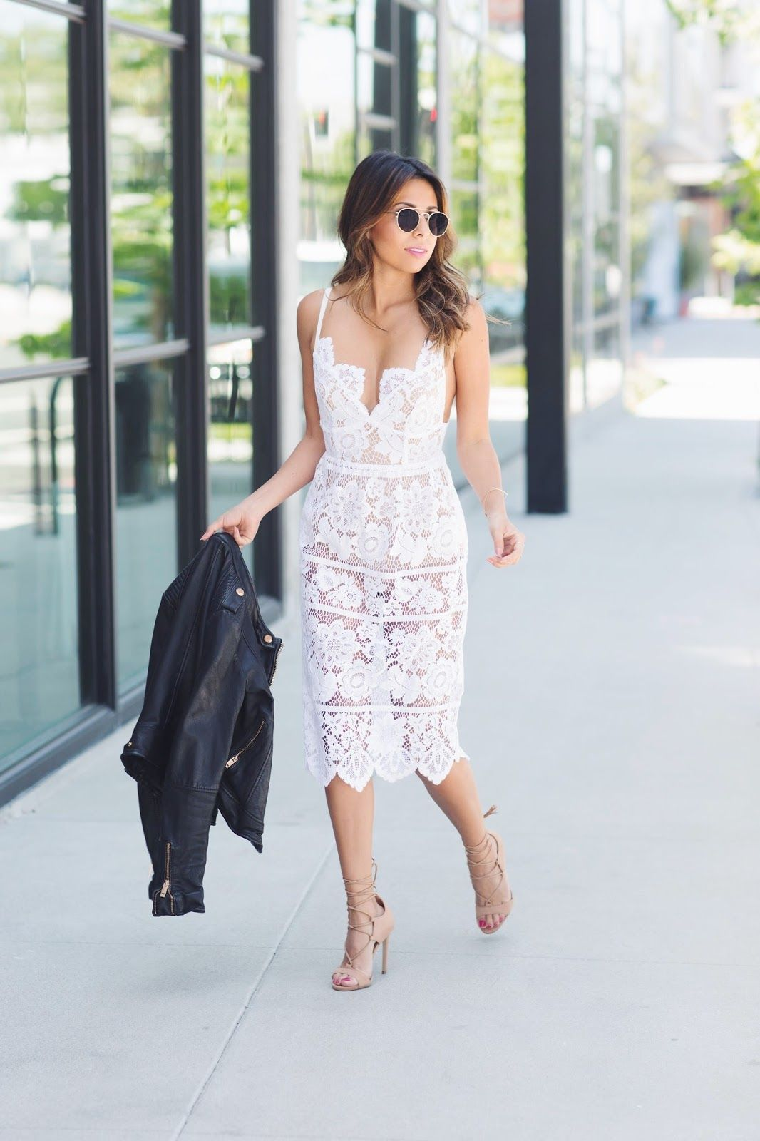 How To Wear White Lace Midi Dress