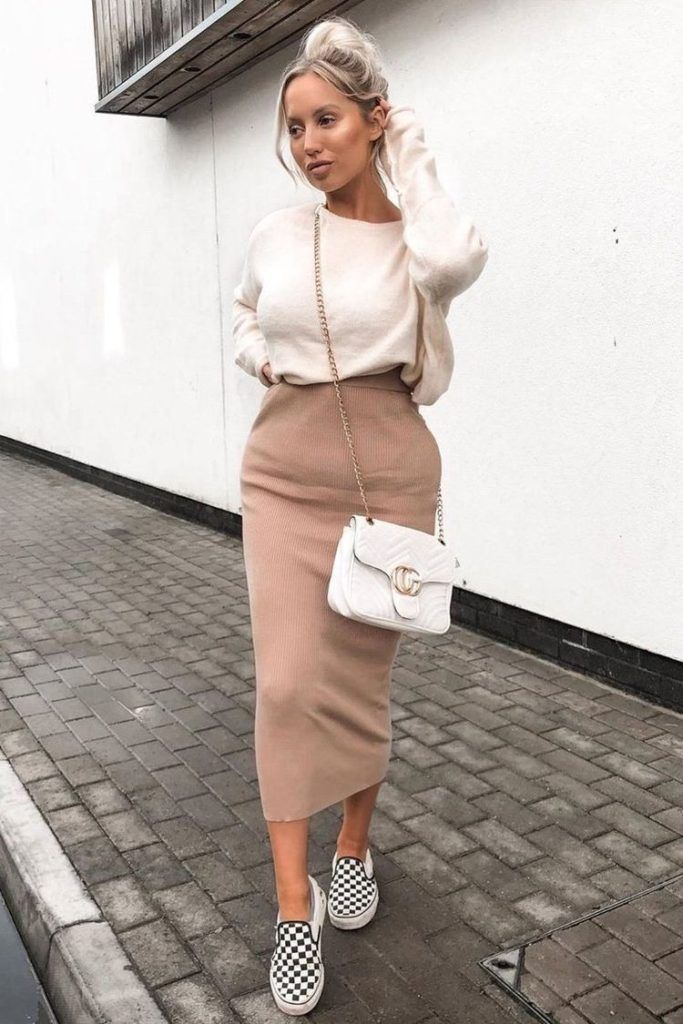Knit Skirt Outfit Ideas