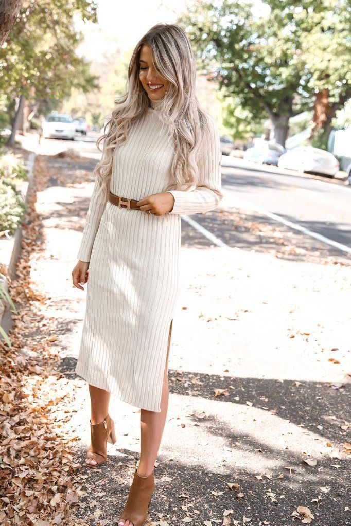 Knit Sweater Dress Outfit Ideas