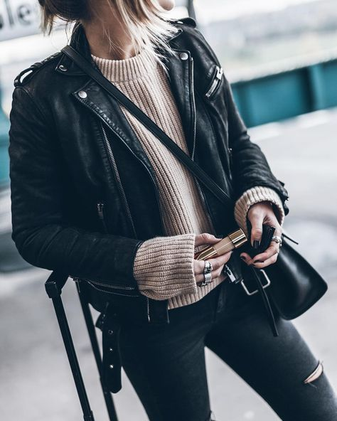 Leather Biker Jacket Outfits For Women