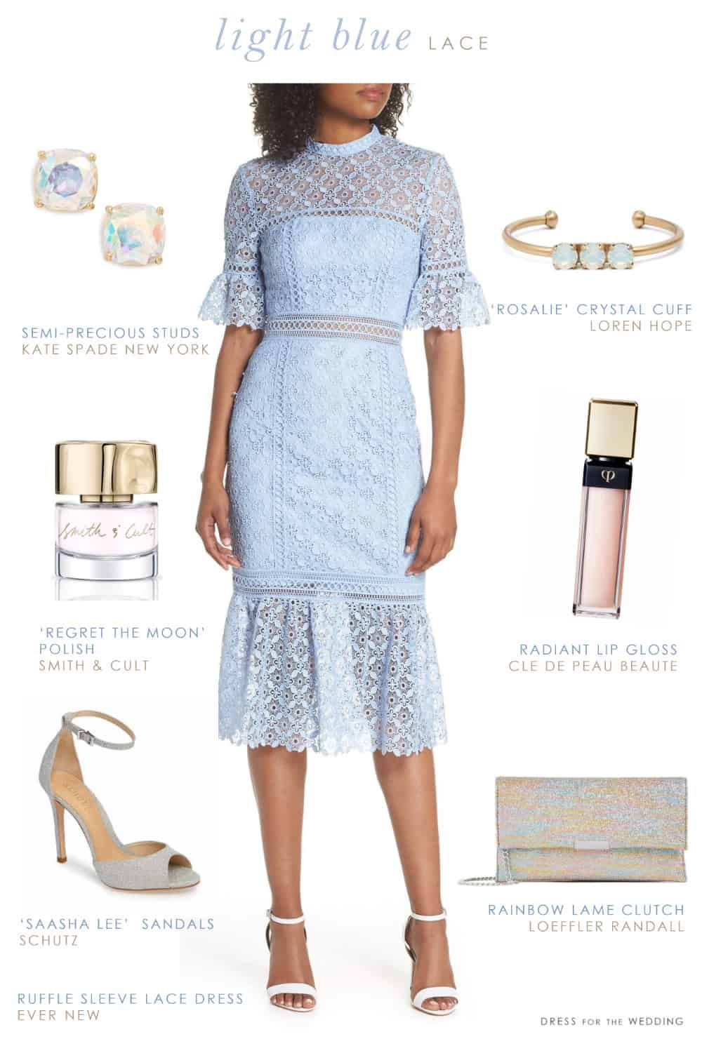 Light Blue Lace Dress Outfit Ideas