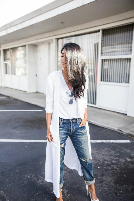 Long White Cardigan Outfit Ideas