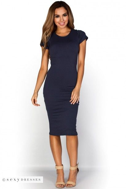 Navy Blue Bodycon Dress Outfits