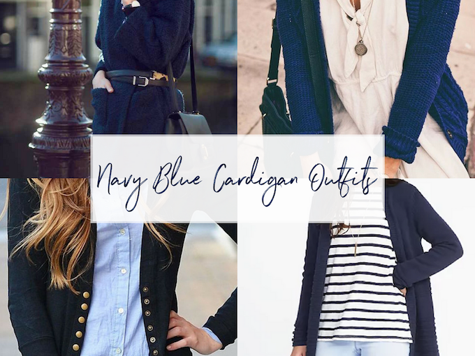 Navy Blue Cardigan Sweater Outfit Ideas
