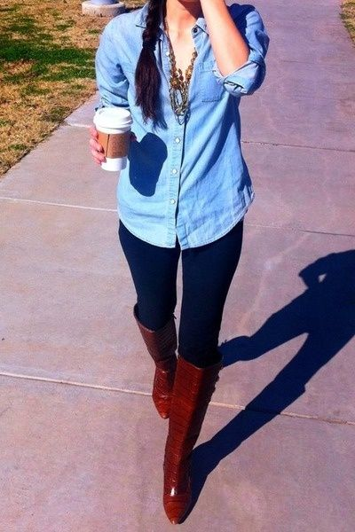 Navy Leggings Outfit Ideas