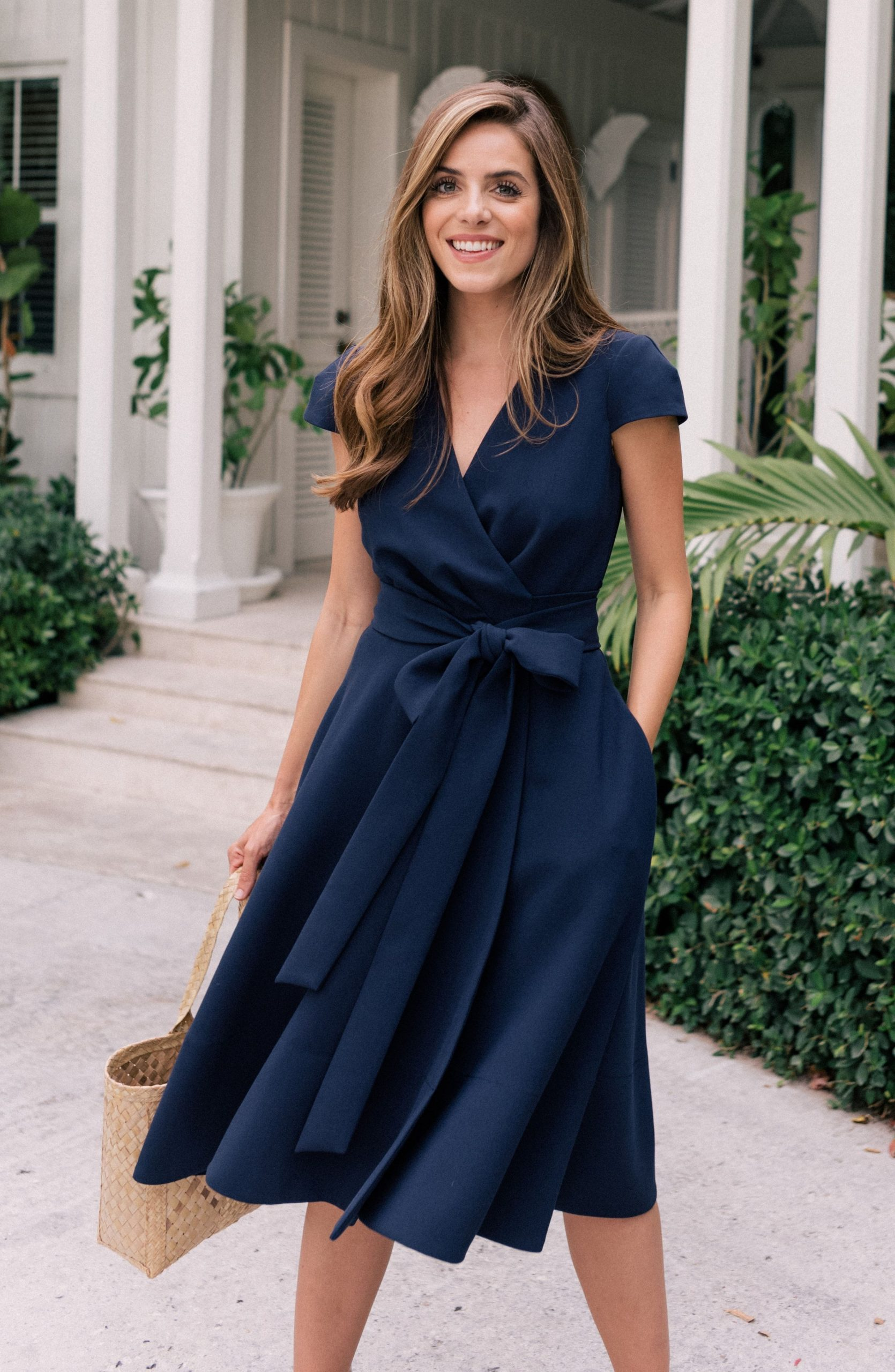 Navy Wrap Dress Outfit Ideas