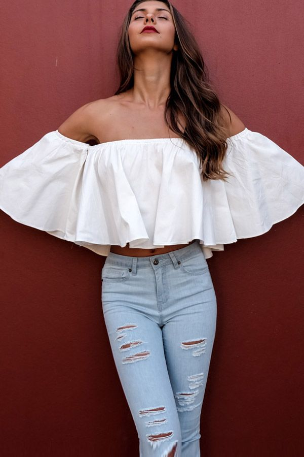 Off Shoulder Ruffle Top Outfits
