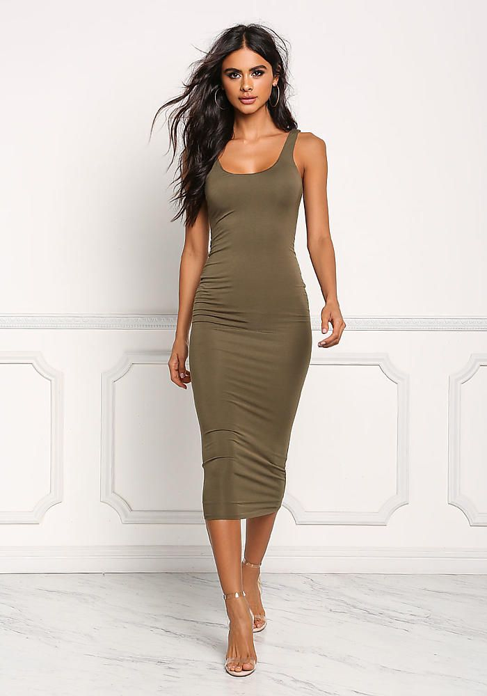 Olive Green Bodycon Dress Outfits