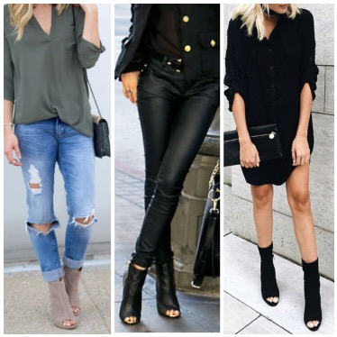 Peep Toe Ankle Boots Outfit Ideas