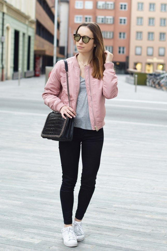 Pink Bomber Jacket Outfit Ideas