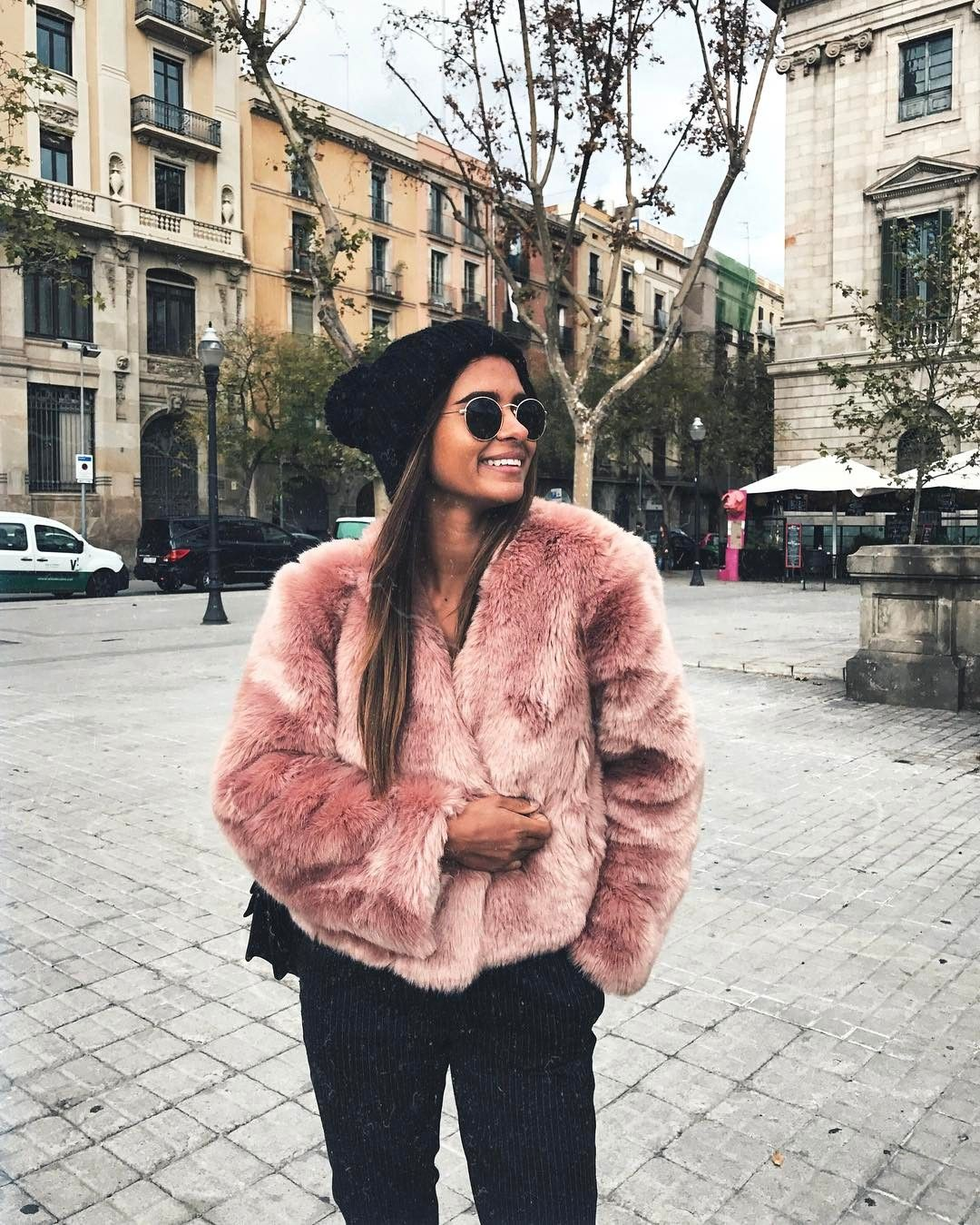 Pink Faux Fur Jacket Outfits