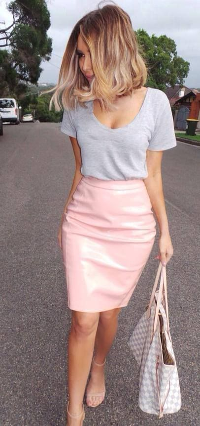 Pink Leather Skirt Outfit Ideas