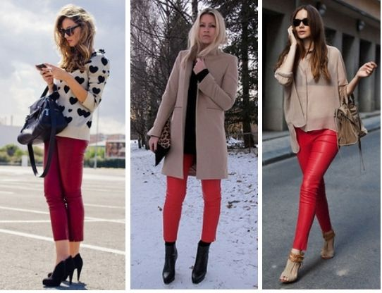 Red Leather Pants Outfit Ideas