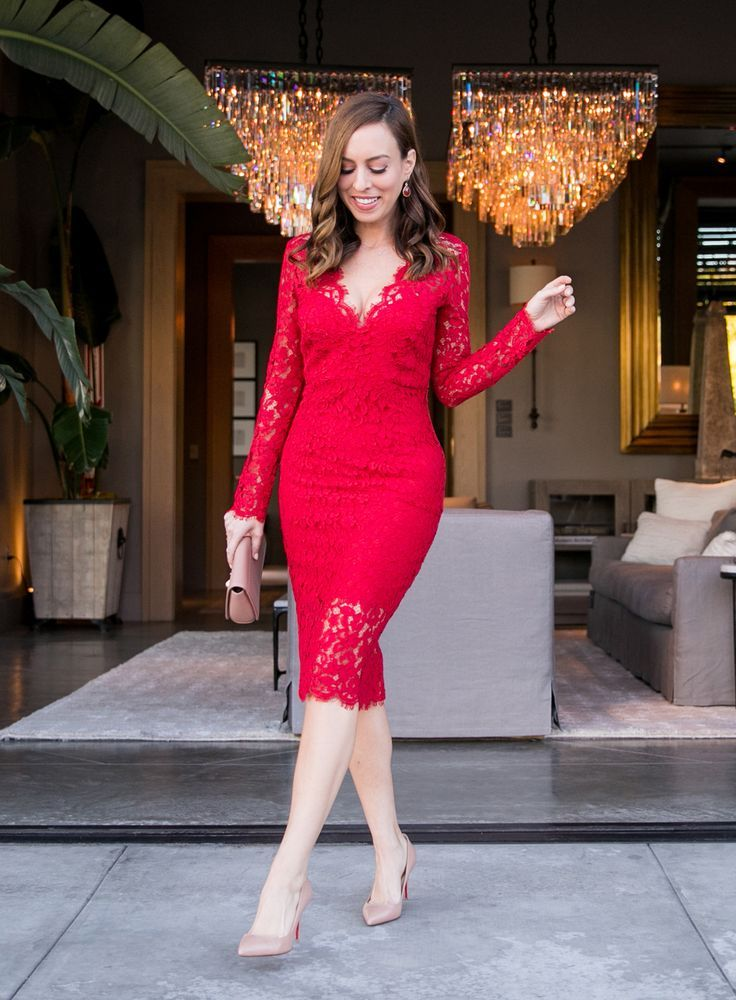 Red Long Sleeve Dress Outfit Ideas