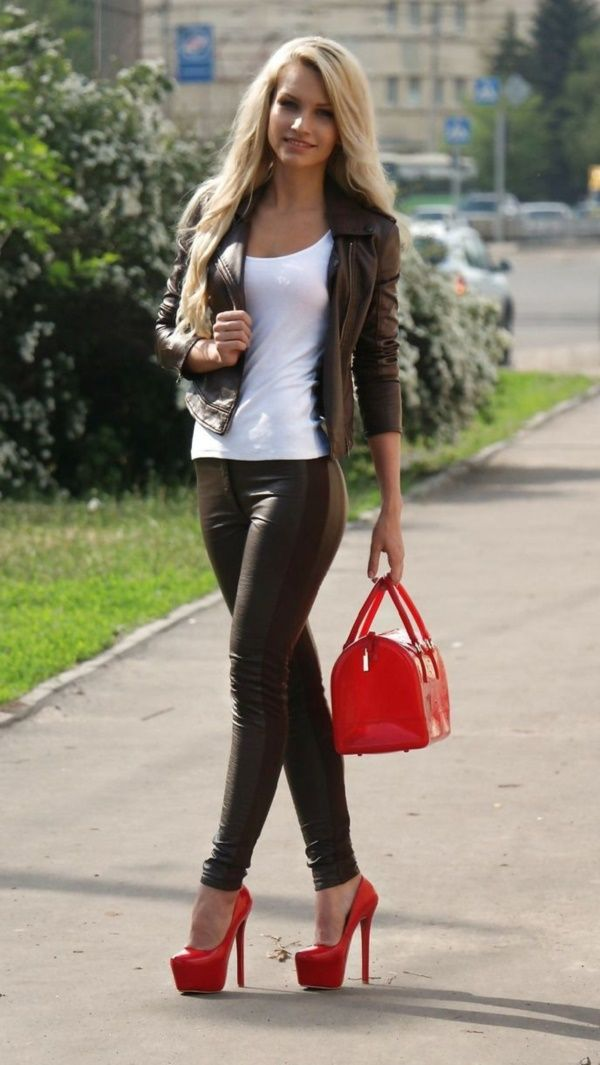Red Platform Heels Outfit Ideas