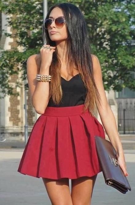 Red Skater Skirt Outfit Ideas