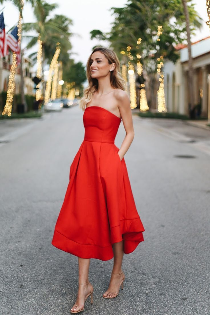 Red Strapless Dress Outfit Ideas