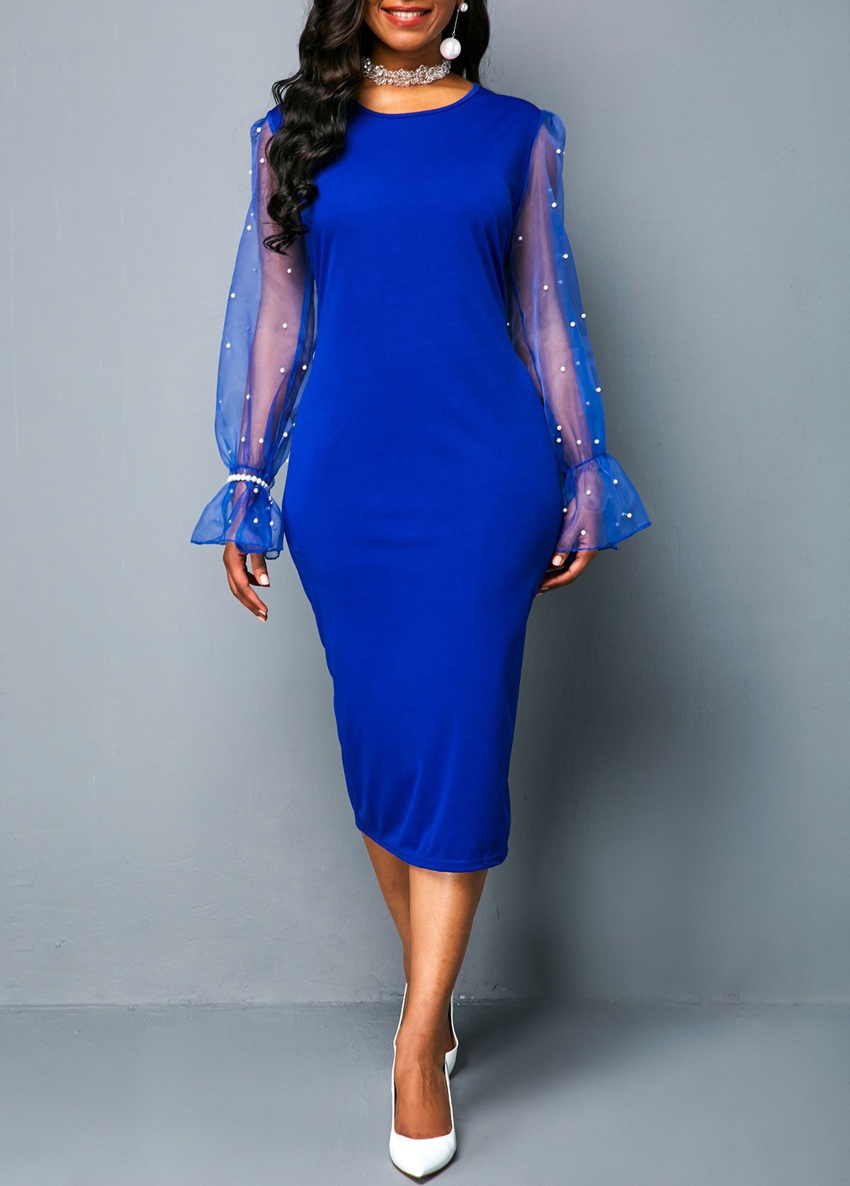 Royal Blue Long Sleeve Dress Outfit Ideas