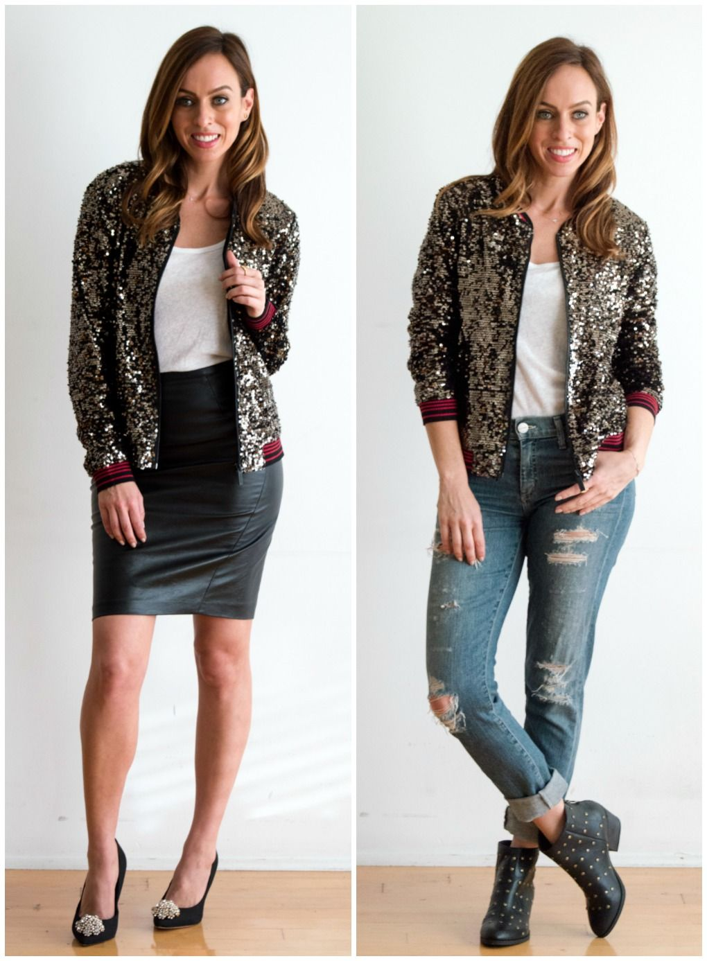 Sequin Bomber Jacket Outfits