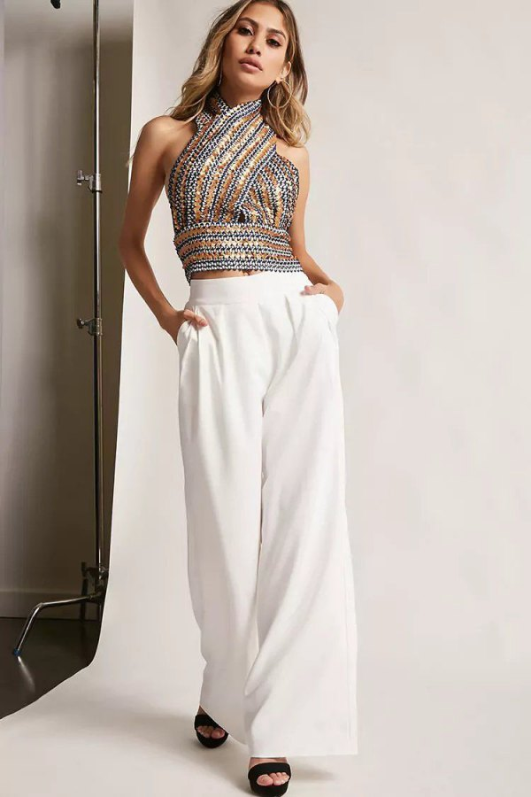 Sequin Halter Top Outfit Ideas