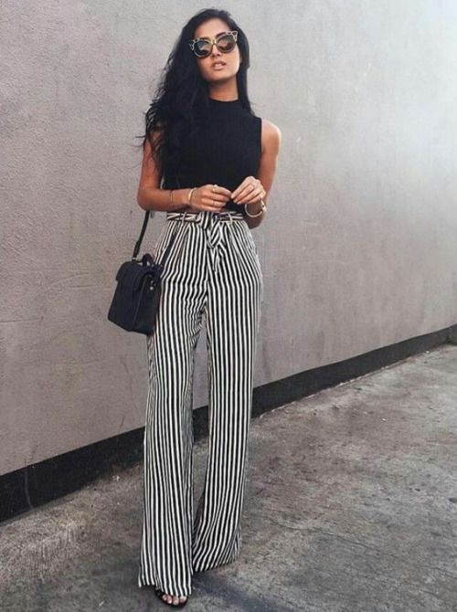 Striped Wide Leg Pants Outfit Ideas