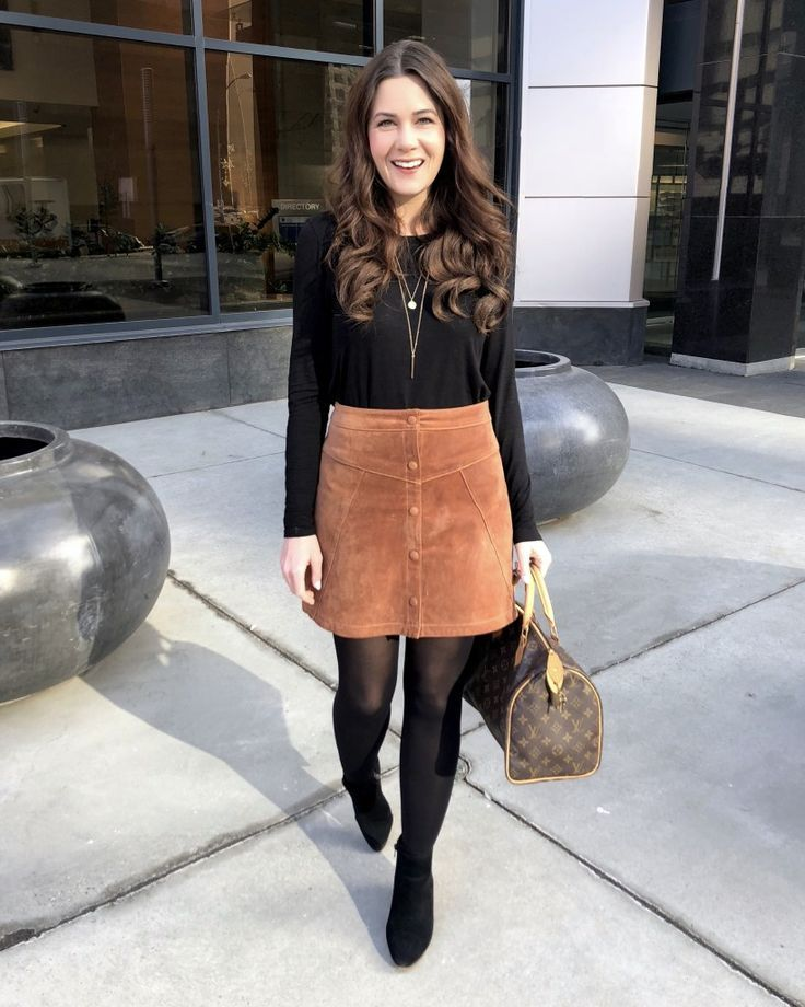 Suede Mini Skirt Outfit Ideas